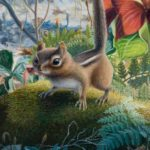 "ALONG MANITOU TRAIL - Eastern Chipmunk acrylic on panel 8"" X 15"" (20cm x 38cm) SOLD"