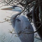 "MISTY LAKE - Great Blue Heron acrylic on panel 15"" x 10"" (38cm x 25cm)"