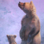 "Mountain Majesty - Mother Grizzly & Cubs acrylic on panel 55"" x 30"" (140cm x 76cm)"