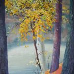 "AUTUMN BIRCHES oil on panel 27' x 16"" (68cm x 40cm)"